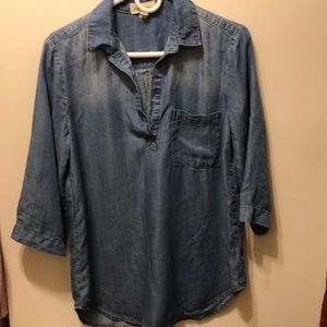 Anthropologie Cloth & Stone Chambray Popover Top M